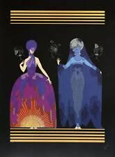 """Authentic vintage erté art déco imprimé """"soirée, nuit"""" la mode livre plaque"""