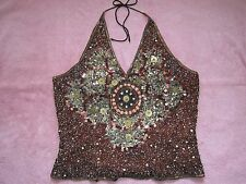 Aftershock Sequined Halter Top Size XL Bustier Lace up Back