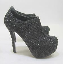 "NEW Blacks Rhinestone 6""HIGH heel 1.5""platform round toe sexy ankle boot size 8"