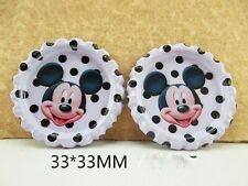 5 X 33mm PRINTED MICKEY MOUSE BOTTLE CAPS HEADBAND BOWS LOOK SALE