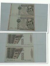 2 banconote da lire 1000 Marco Polo FDS assoluto  numeri consecutivi da mazzetta