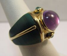 14K Solid Gold Custom Made Cabochan Ring - One of a Kind-  Size 7 -  #R221