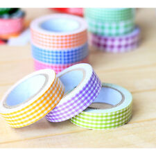 Roll 15mm Fabric Washi Decora DIY Tape Grid Crafts Adhesive Scrapbooking Sticker