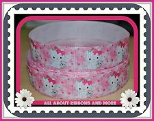 1 INCH HELLO KITTY PINK GROSGRAIN RIBBON WITH KITTEN - 1 YD
