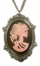 Gothic Lolita Skull Cameo Black & Pink in Silver Frame Pendant Necklace NK-629PB