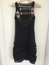 Save The Queen Dress Black Gold Blue Rose Appliqué Italy 8 S Dress Chain