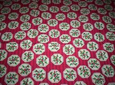Holly on Red Musical Background  Cotton Fabric (1 yard )
