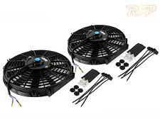 "2 x 14"" Slim Universal Electric Radiator / Intercooler Cooling Fan & Fitting Kit"