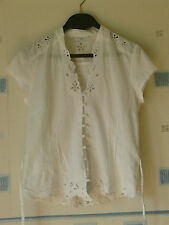 LADIES TUNIC/ BLOUSE TOP SIZE 10 WHITE LACE CUTOUTS  *NEW LOOK *