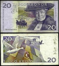 Sweden 1999-2008 Very Good 20 Kronor Banknote Paper Money Bill P-63