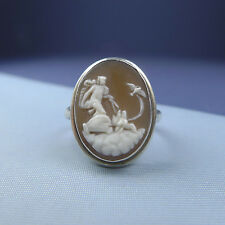 Antique Sterling Silver Cameo Ring Mythological Scene