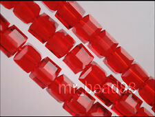 50pcs Loose Red Glass Crystal Faceted Cube Beads 6mm Spacer Crafts Findings
