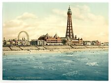 Large A3 Victorian View of Blackpool Tower from The North Pier Old Photo Picture
