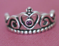PRETTY CROWN RING WITH RUBY RED STONE Genuine Sterling Silver.925Stamped Size 10