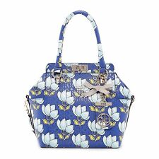 Guess Malena Blue Floral Print Turn Lock Satchel Crossbody Purse Handbags New
