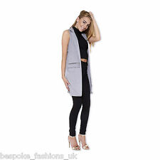 Ladies Women's Sleeveless Zip Pocket Long Waistcoat Blazer Jacket Coat Top 8-14