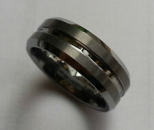 Brushed Stripes Tungsten Carbide 8mm Wide Band Ring Size 10