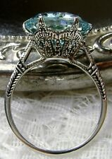 5ct*Aquamarine* Solid Sterling Silver Edwardian 1910 Etch Filigree Ring Size: 5