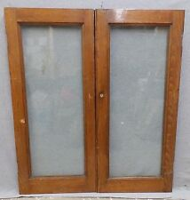 Antique Pair Solid Oak Cabinet Cupboard Doors Old Vintage Kitchen Pantry 585-16
