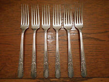 6 Rogers 1939 Jasmine Pattern Dinner Forks Oneida Ltd Silverplate