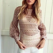 Women Fashion Casual Sweet Hollowed Lace Long Puff Sleeved T-Shirts Tops Blouse