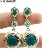 TURKISH HANDMADE 925 STERLING SILVER VICTORIAN JEWELRY EMERALD EARRINGS E2422