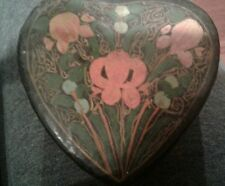 Heart Shaped Covered Wood Box Hand Painted Floral  from india