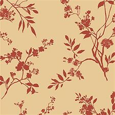 Red Floral on Tan Red Wallpaper-Double roll
