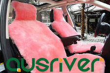 Pink Premium Quality Australian Sheep Skin Car Short Wool Front Seat Cover
