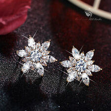 18k white yellow rose gold gf genuine SWAROVSKI crystal stud earrings 925 silver
