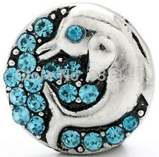 Snap button Crystal dolphin 18mm Cabochon chunk charm