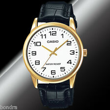 Casio MTPV001GL-7B Men's Analog Watch Leather Band Black White Face Gold New