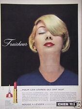 PUBLICITÉ 1957 ROUGE À LÈVRES CHEN YU FRAÎCHEUR - ADVERTISING