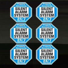 Security Silent Alarm Property Warning Set of 6 Durable Decal Stickers 4.1 x 3.8