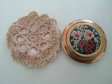 RARE Collectable Vintage Retro Embroidered Powder Compact Made in U.S.A.