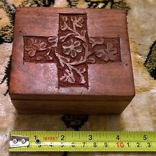 Vintage Hand Crafted & Carved Wooden Box From India
