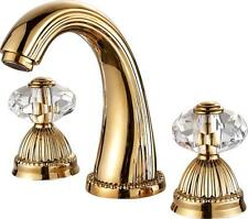 widespread bathroom Lavatory Sink faucet Crystal handles Mixer tap Gold clour