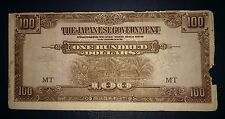 #3 Malaya Japanese Occupation JIM One Hundred Dollars $100 banknote Prefix MT F