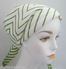 Green Chevron Chemo Cancer Hair Loss Turban Hat Alopecia Cotton Head Scarf