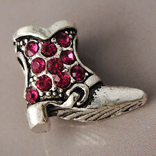 Womens Silver Shoe Rose Red Crystal Stone Pendant For Necklace White Gold Filled