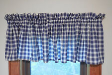 "Plaid Valances Navy Blue Cream Checked Window Curtains High Quality 86"" x 17"""