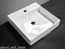 BATHROOM CERAMIC SQUARE ABOVE COUNTER TOP BASIN FOR VANITY INCLUDES POP-UP WASTE