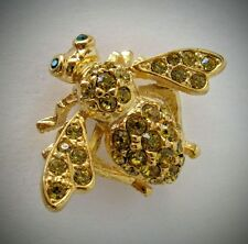 JOAN RIVERS Yellow Pave' Rhinestone Bumble Bee Pin/Brooch Green Eyes Bug Insect