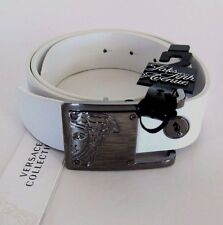 J-668100 New Versace White Silver Buckle Belt Size-34/Marked-85
