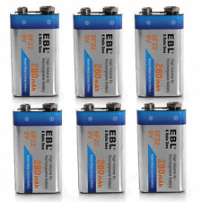 6x EBL 280mAh 9V 6F22 Ni-MH Rechargeable Battery batteries