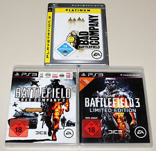 3 PLAYSTATION 3 SPIELE SET - BATTLEFIELD 3 BAD COMPANY 1 & 2 - LIMITED UNCUT PS3