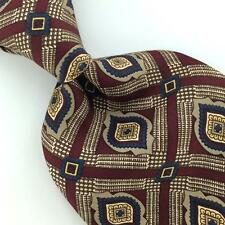 STEFANO ROSSINI US MADE MAROON ART DECO Silk Men Necktie I4-264 Excellent Ties
