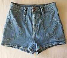 27 BDG Urban Outfitter Jean Short Shorts High Waist Light Denim Braid Belt Loop
