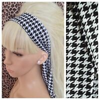 BLACK WHITE HOUNDSTOOTH CHECK HEAD SCARF HAIR BAND SELF TIE BOW 50s 60s RETRO