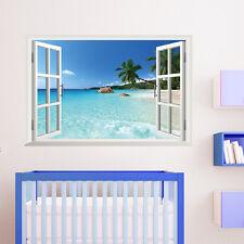 Grande Rimovibile Spiaggia Mare 3D Finestra Vista Scenario Adesivo Da Parete